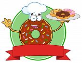 stock photo of donut  - Chef Chocolate Donut Cartoon Character With Sprinkles Serving Donuts Circle Label - JPG