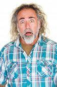 image of long beard  - Surprised mature man with beard and long hair - JPG