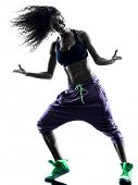 stock photo of zumba  - one african woman woman zumba dancer dancing exercises  in studio silhouette isolated on white background - JPG