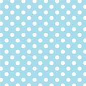 stock photo of dot pattern  - Seamless pattern of large white polka dots on a pastel aqua background for arts - JPG
