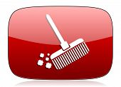 picture of broom  - broom red glossy web icon  - JPG