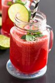 foto of refreshing  - Delicious and refreshing watermelon and lime drink with mint leaves - JPG