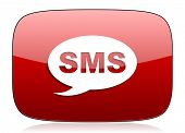 stock photo of sms  - sms red glossy web icon