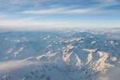 picture of andes  - Andes mountains with snow aerial view  - JPG