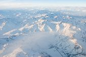 stock photo of andes  - Andes mountains with snow aerial view  - JPG