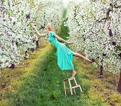 picture of levitation  - Romantic levitating blonde beauty - JPG