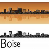 stock photo of boise  - Boise skyline in orange background in editable vector file - JPG
