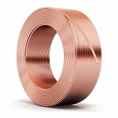 picture of hunk  - Hunk of shiny metal copper electrical power wire cable isolated on white background - JPG
