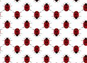 picture of ladybug  - Pattern of red ladybugs with seven black dots - JPG