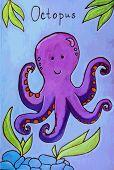 stock photo of octopus  - Octopus cartoon fun illustration set draw ocean - JPG