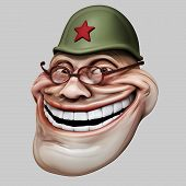 pic of troll  - laughing internet troll in russian helmet 3d illustration isolated - JPG