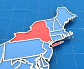 picture of usa map  - 3d render of USA map with New York state highlighted in red - JPG