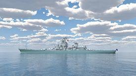 pic of battleship  - Computer generated 3D illustration with an American battleship of World War 2 - JPG
