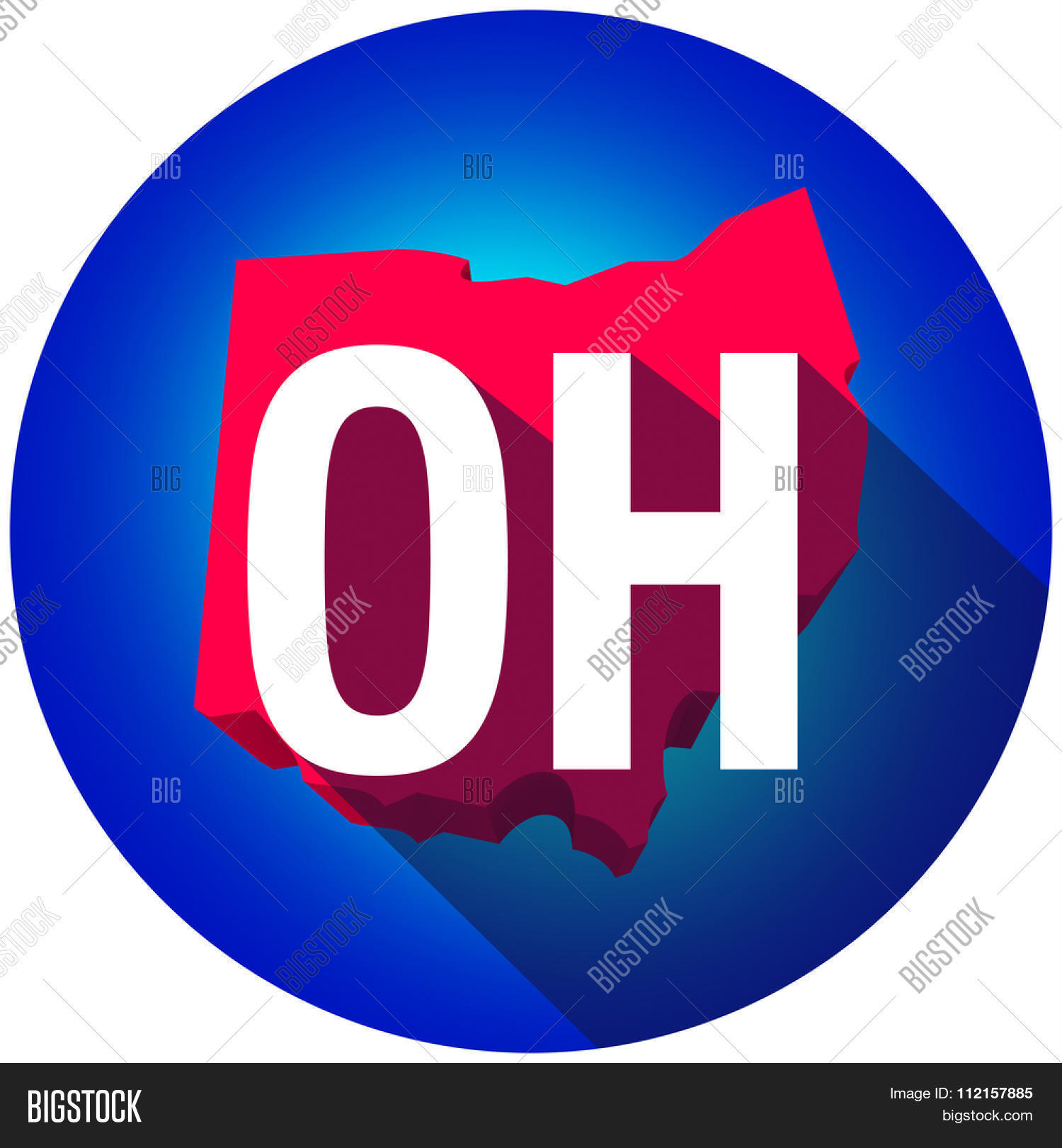 ohio oh letters on a 3d map of the state as part of the usa united