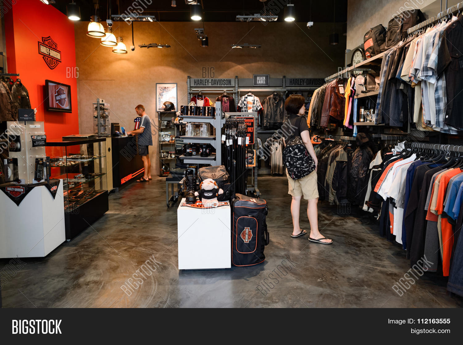 singapore - november 08, 2015: interior of store with harley