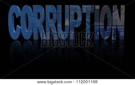 Corruption text with Somalia flag and currency illustration