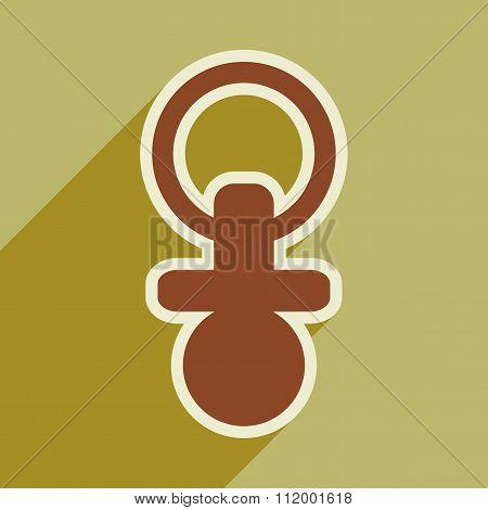 Modern flat icon with long shadow baby Nipple