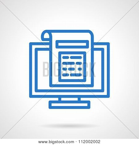 Newsletter vector icon blue simple line style