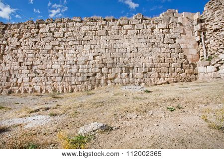 Destroyed Walls, In The Desert Valley Of The Middle East