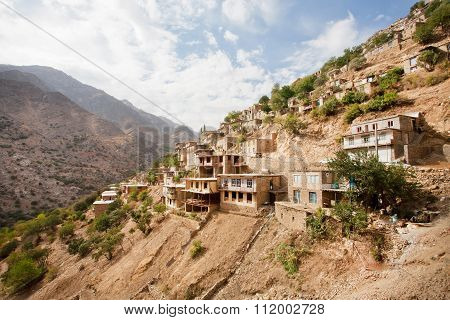 Village Landscape With Old Houses In Mountain Village In Iran.
