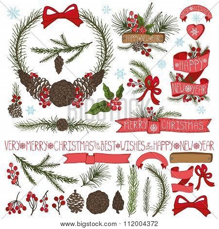 Christmas decor set.Spruce branches,pine cones group