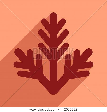 flat icon with long shadow fur-tree branch