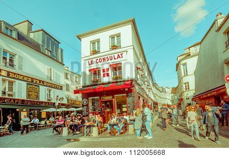 Picturesque view of Montmartre streets in Paris, France