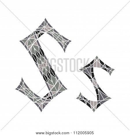 Low poly letter S in gray mosaic polygon