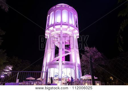 Colourfully Lightened Water-tower - 1. Pink