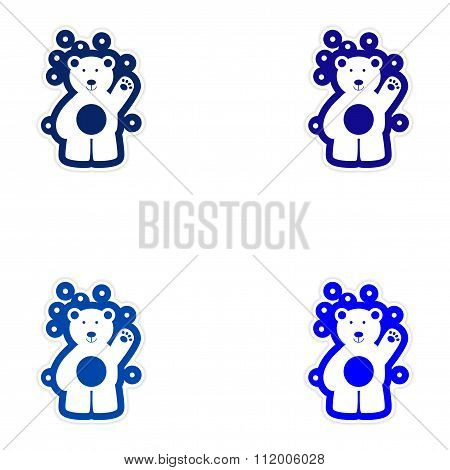 Set of paper stickers on white background northern bear