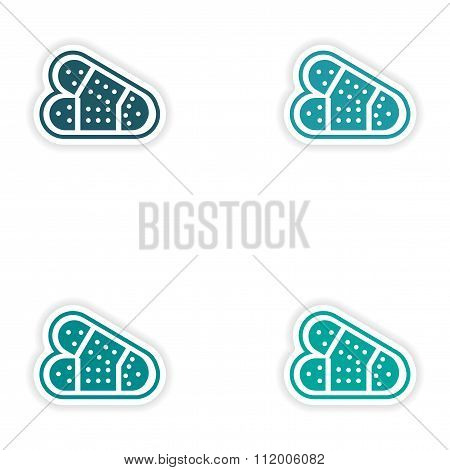 Set of paper stickers on white background medical patch