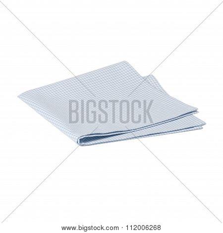 Folded Gingham Cotton Napkin Isolated On White Background