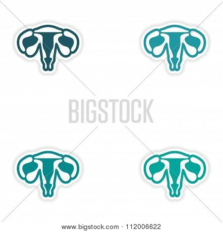 Set of paper stickers on white background vagina