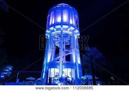 Colourfully Lightened Water-tower - 4. Blue