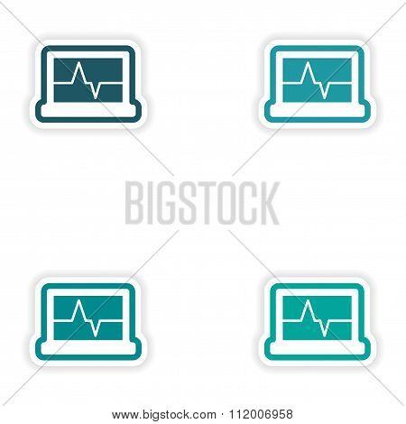 Set paper stickers on white background ECG machine