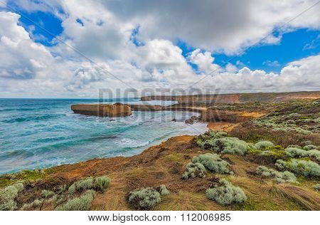 Beautiful Coastline With Rocky Outcrops At The Great Ocean Road, Australia