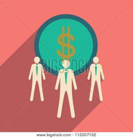 Flat design modern vector illustration icon Dollar and employees