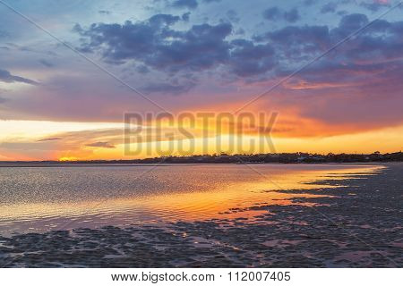 Vivid Glowing Sunset At Inverloch Foreshore Beach, Australia