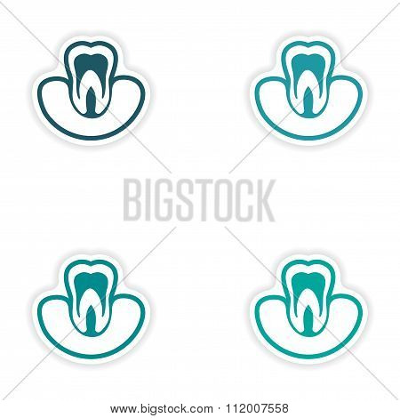 Set of paper stickers on white background tooth in gums
