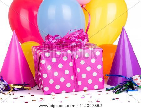 Pink Gift With Polka Dots