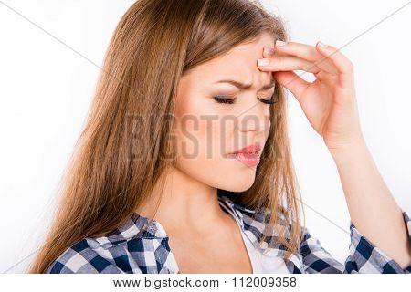 Beautiful Young Woman Suffering From Headache
