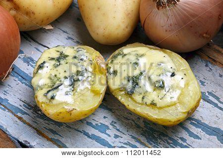 Batata e queijo azul