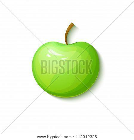 Green apple, vector illustration in cartoon style