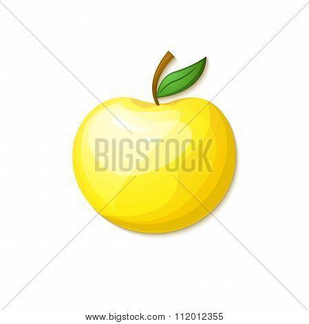 Yellow apple, vector illustration in cartoon style