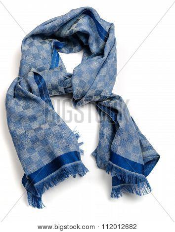 Pashmina blue chekered scarf on white