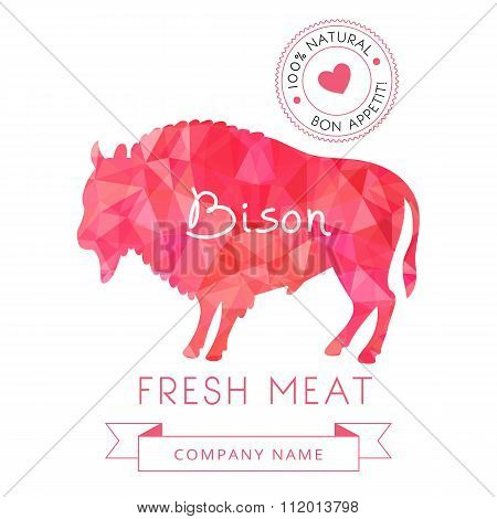 Image meat symbol bison silhouettes of animal for design menus, recipes and packages product.