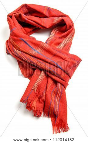 wool red scarf on white