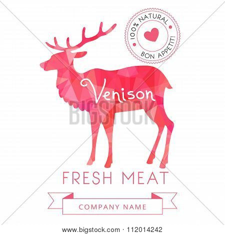 Image meat symbol venison silhouettes of animal for design menus, recipes and packages product.