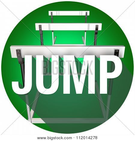Jump word with long shadow over hurdles to illustrate challenge, danger and risk to overcome