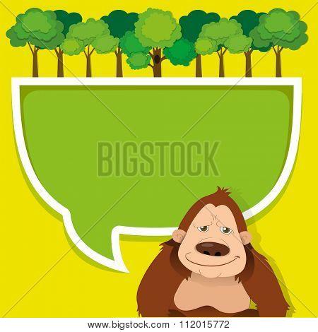 Border design with gorila and trees illustration